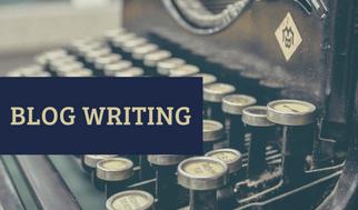Blue and Brown Typewriter Writer Business Card (1)